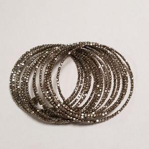 Stella & Dot Bardot Spiral Bangle Bracelet Silver